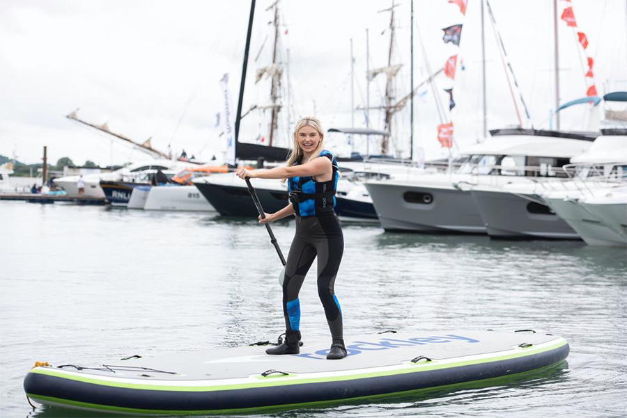 Former Queen of the Jungle Georgia Toffolo shows her adventurous side as she took to the water at Southampton International Boat Show