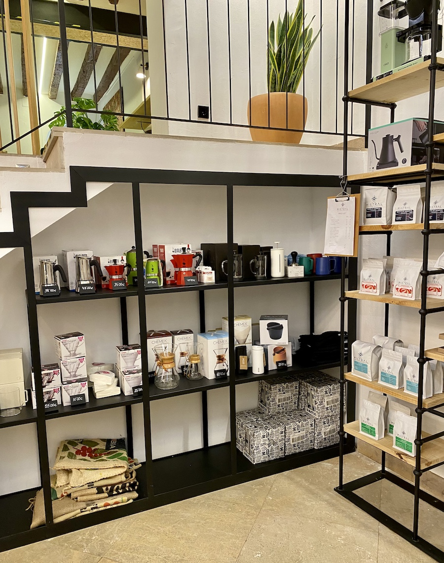 Mistral Cafe Mallorca shelves and products