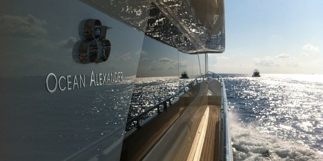 Ocean Alexander 85 while in the Bahamas