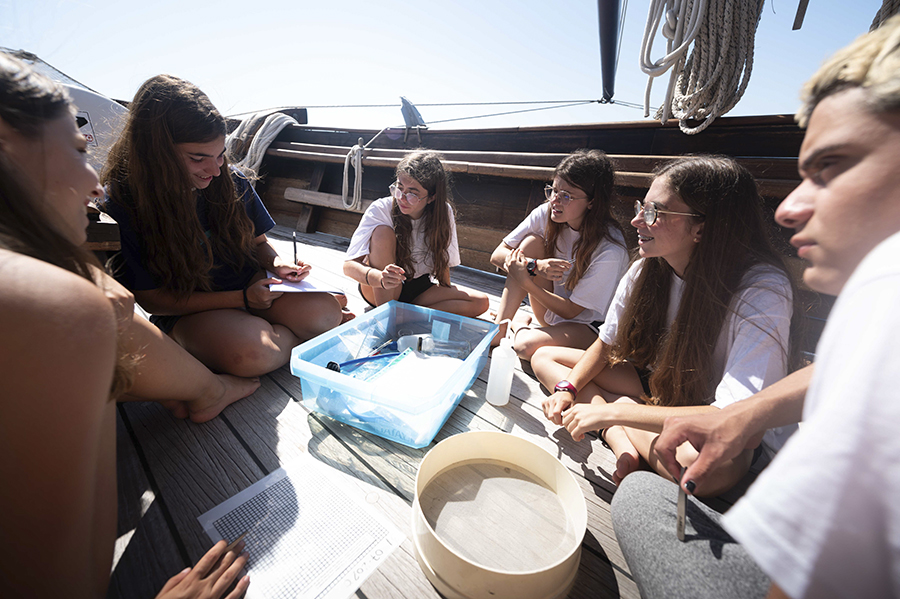 Group of young Changemakers onboard SV Rafael Verdera